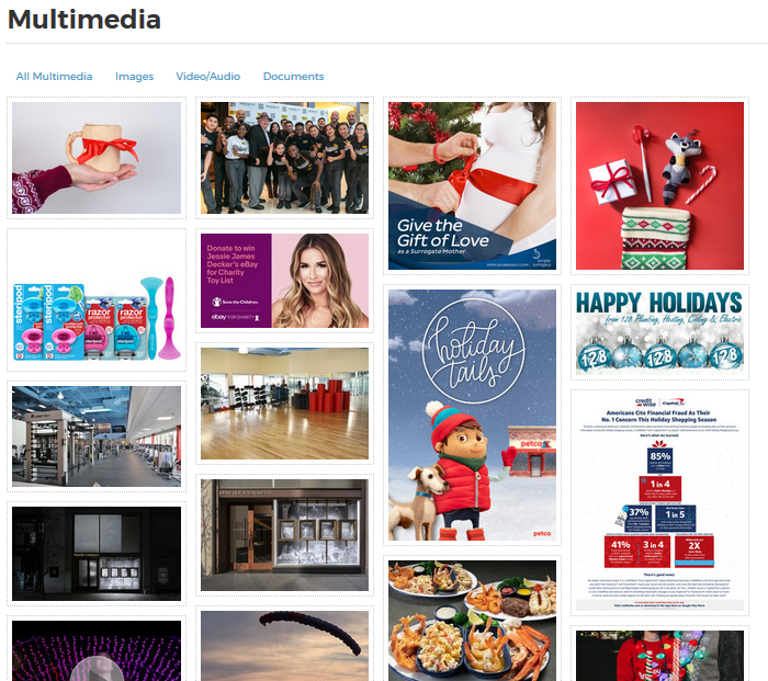 "Screenshot of ""holiday"" image results from PR Newswire for Journalists"
