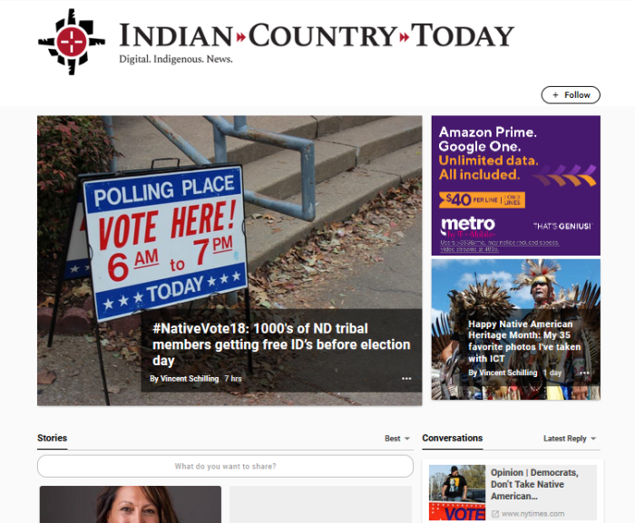 Indian Country Today homepage