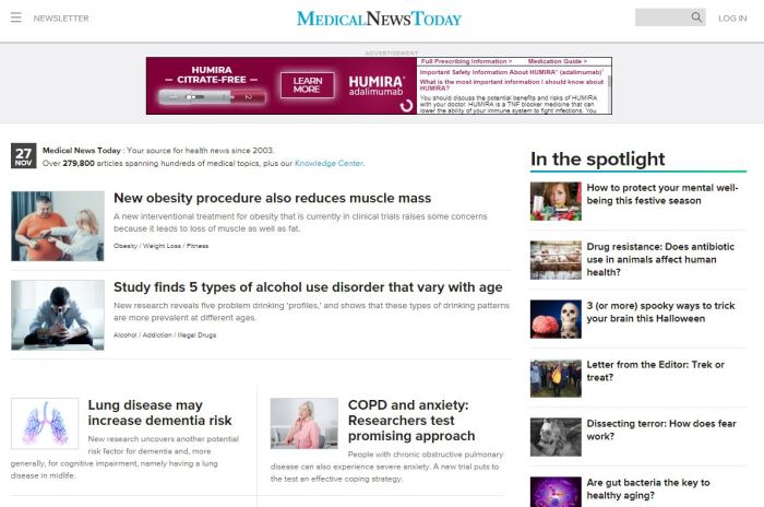 Top Health News Sites: Medical News Today homepage