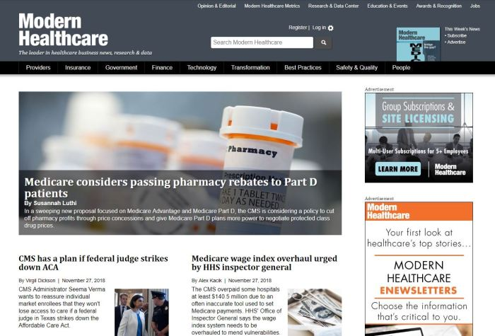 Top Health News Sites: Modern Healthcare homepage