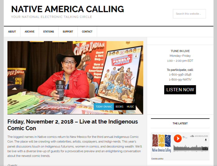 Native America Calling homepage