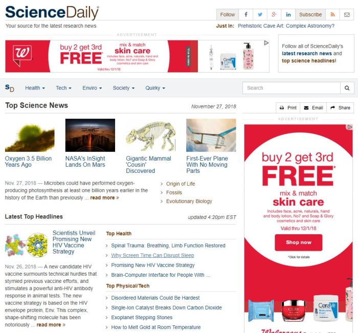Top Health News Sites: ScienceDaily homepage
