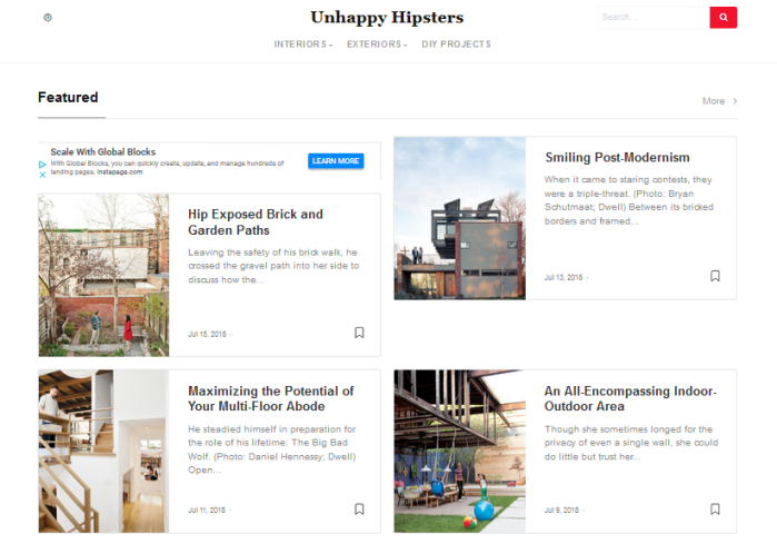 Unhappy Hipsters homepage