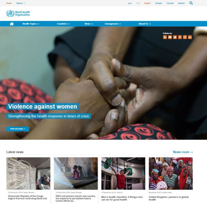 Top Health News Sites: World Health Organization (WHO) homepage