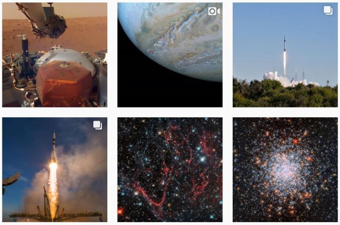 Astronomy Blogs We Love - six recent posts from @nasa on Instagram