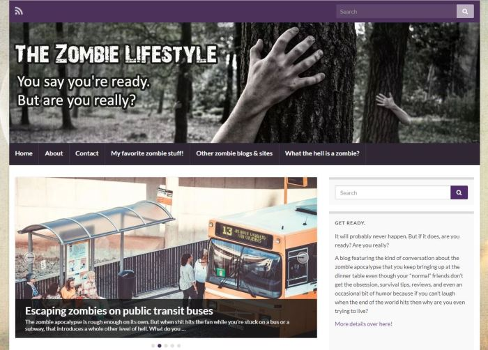 The Zombie Lifestyle homepage