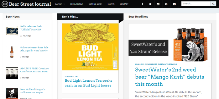 Beer Street Journal homepage