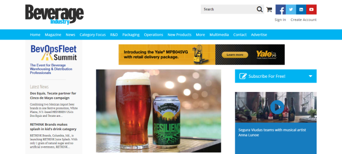 Beverage Industry homepage