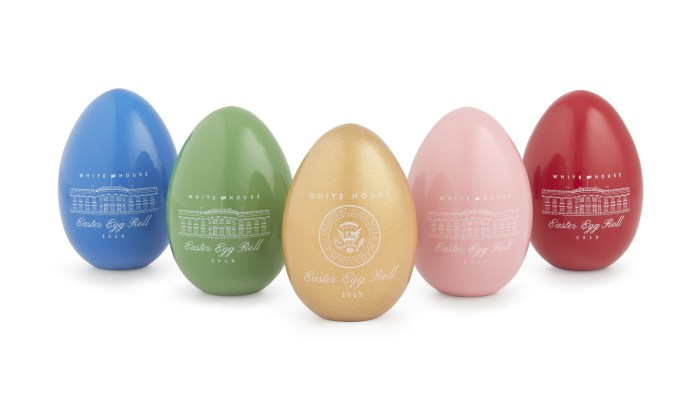 Official 2019 White House Easter Eggs in blue, green, yellow, pink and red