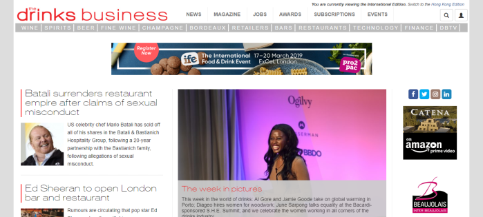 the drinks business homepage