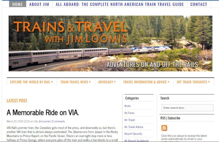 Trains and Travel homepage