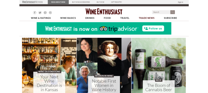 Wine Enthusiast homepage