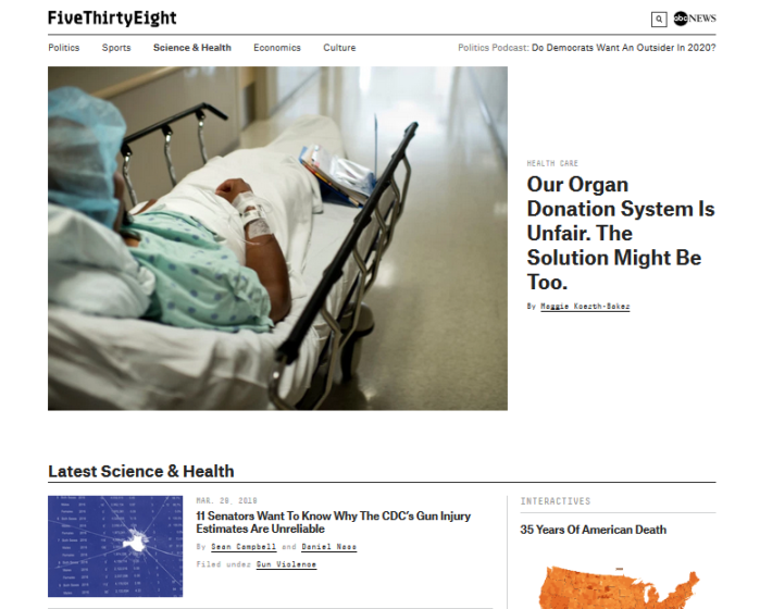 FiveThirtyEight homepage - Science & Health section