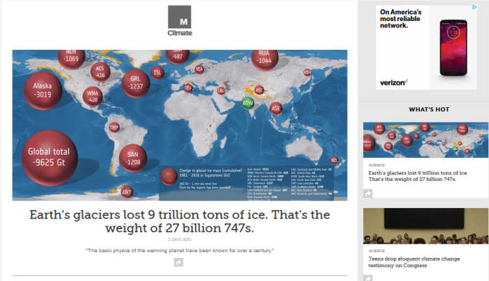 Mashable Climate homepage