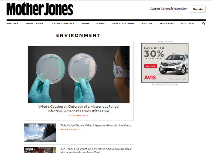 Mother Jones homepage