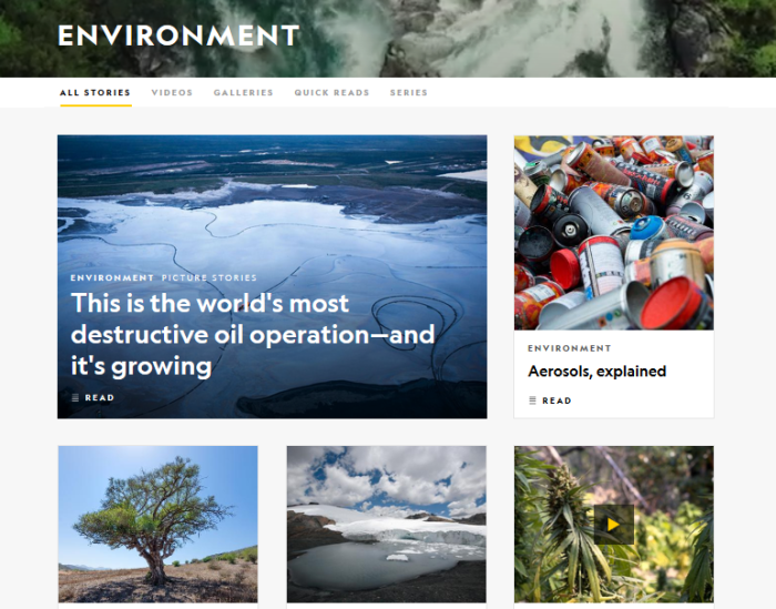 National Geographic website homepage