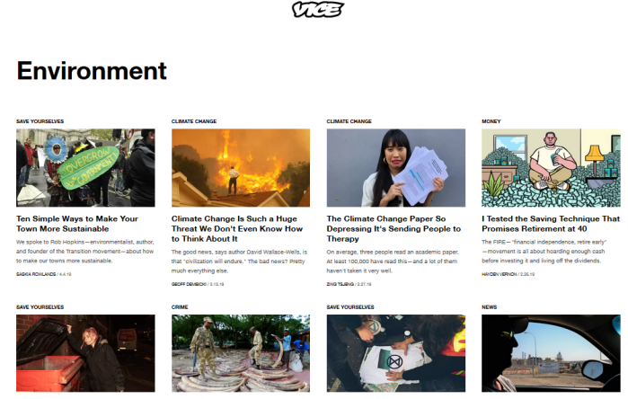 Vice website, Environment stories