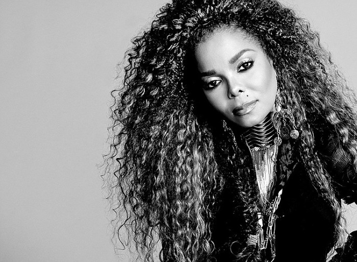Janet Jackson black and white headshot