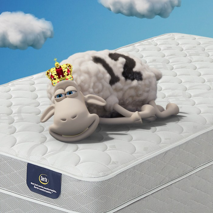Serta mattress with sheep wearing a crown