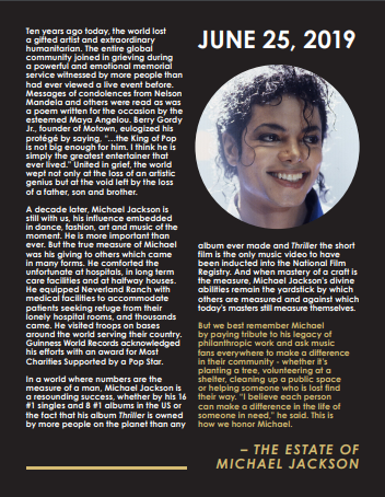 Michael Jackson Estate statement