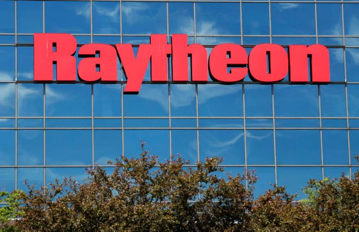 Raytheon logo on the outside of a building