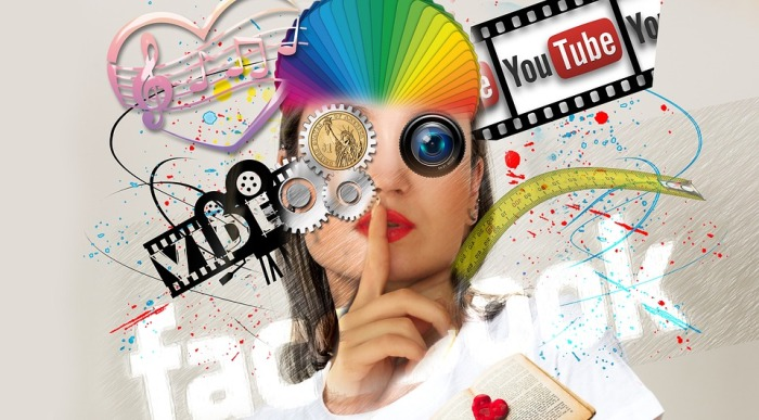 Image of a women overlaid with music notes, video reel, YouTube logo, and Facebook logo