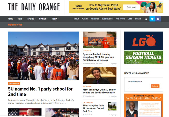 The Daily Orange homepage