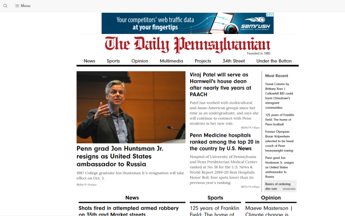 The Daily Pennsylvanian homepage