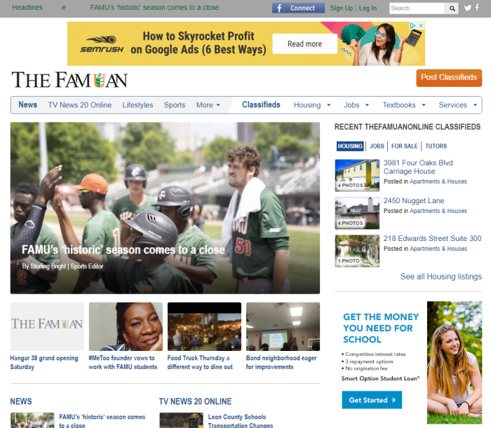 The Famuan homepage