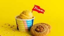 French's Mustard Ice Cream with a pretzel cookie
