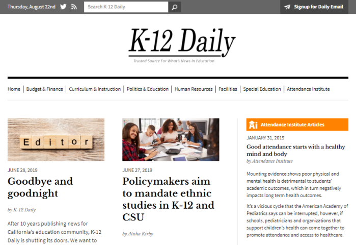 K-12 Daily website homepage