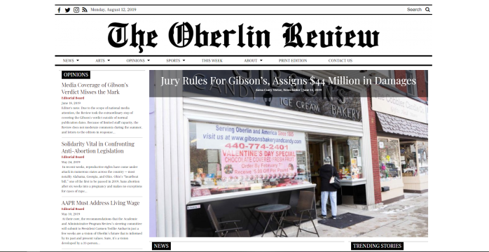 The Oberlin Review homepage