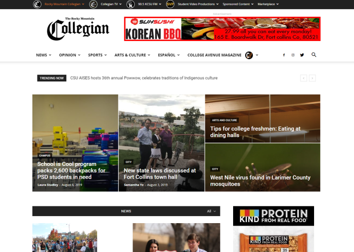 The Rocky Mountain Collegian homepage