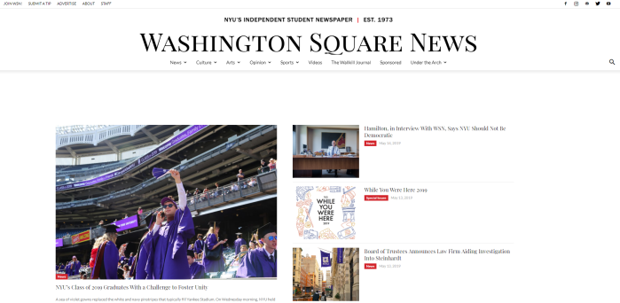 Washington Square News homepage