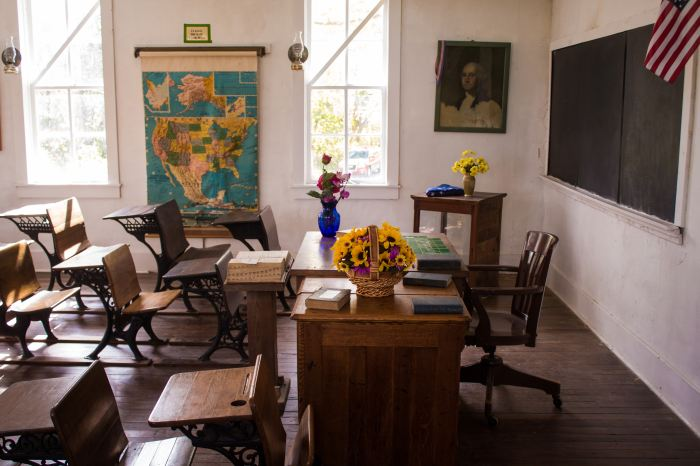Empty classroom with a map, chalkboard and American flag on the wall