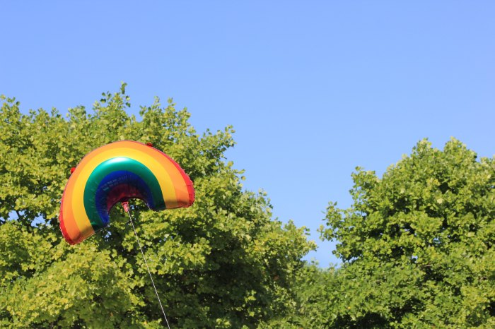 Rainbow balloon floating in front of trees