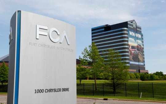 Fiat Chrysler Automobiles FCA sign outside company building