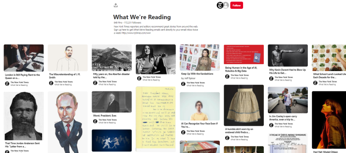 News Org to Follow on Pinterst - NYTimes - What We're Reading board