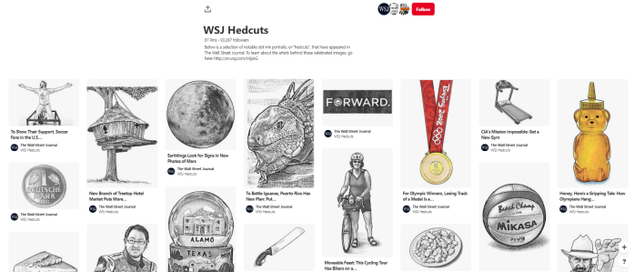 News Orgs to Follow on Pinterest - WSJ - Hedcuts board