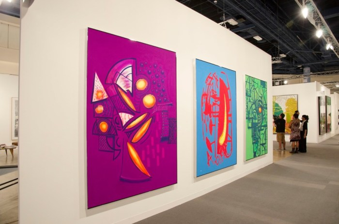 MBVCA - Art Basel (Image of 3 large artworks hanging on a gallery wall)