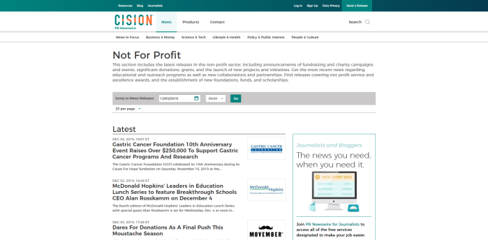 Top Philanthropy News Sites - PR Newswire Not For Profit News