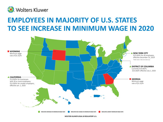 Wolters Kluwer graphic - Employees in Majority of U.S. States to See Increase in Minimum Wage in 2020