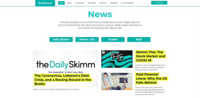 Women's Interest News Sites - theSkimm
