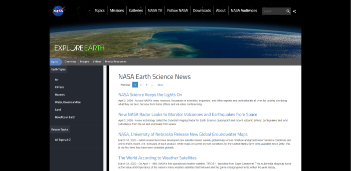 Top Environmental News Sites - NASA