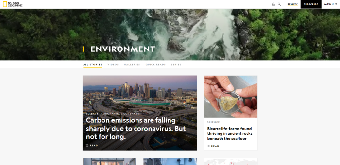 Top Environmental News Sites - National Geographic/NatGeo