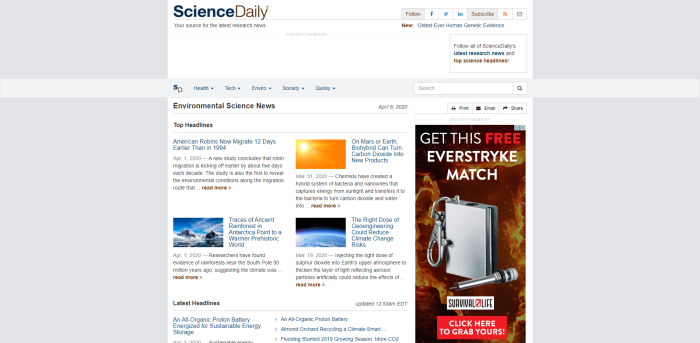 Top Environmental News Sites - ScienceDaily