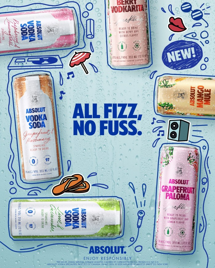 New Absolut Vodka Sodas and Cocktails