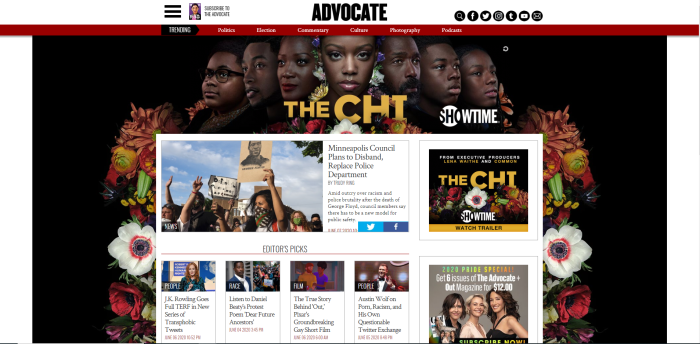 LGBTQ News Sites - Advocate homepage
