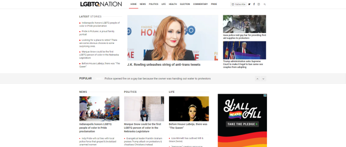 LGBTQ News Sites - LGBTQ Nation homepage