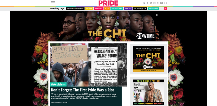 LGBTQ News Sites - Pride.com homepage